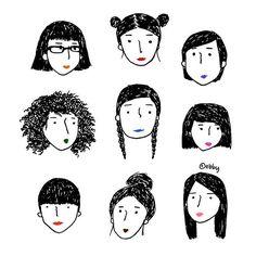 Face Illustration, People Illustration, Character Illustration, Cartoon Drawings, Easy Drawings, Doodles, Buch Design, Art Challenge, Doodle Art