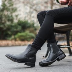 Handcrafted slip-on Chelsea boot with beautiful black leather uppers, glove leather lining, comfort Black Ankle Boots Outfit, Black Chelsea Boots Outfit, Expensive Shoes, Slingback Shoes, Cowboy Boots Women, Fashion Mode, Trendy Fashion, Leather Heels, Black Leather