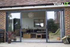 Bifold Patio Doors House Extensions 22 Ideas For 2019 Exterior Patio Doors, Bifold Doors, Aluminum Patio, Aluminium Patio Doors, Exterior Doors, Garden Doors, Patio Fireplace, Rustic Patio, Sliding Doors Exterior