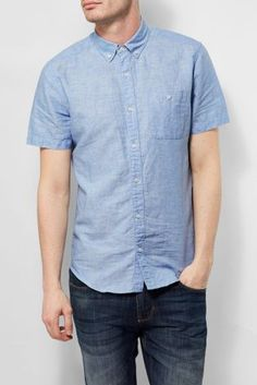 Light Blue Short Sleeve Linen Blend Shirt