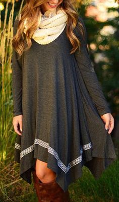 Women's Casual Asymmetric Hem Stretched Knit Dress