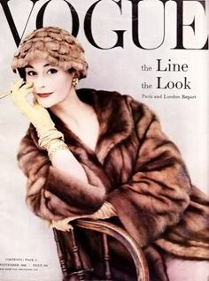 1950s vintage fashion: Anne Gunning on the cover of Vogue, September 1956