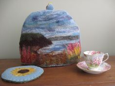 Felted tea cosy and Felted trivet by Wool-A-Fibers