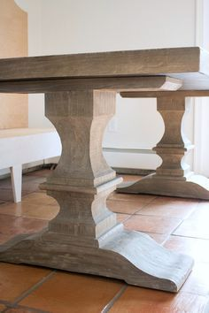 Restoration Hardware #wood pedestal table - gorgeous finish!