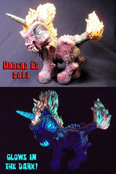 Chaos The My Little Pony Sculpted Hand Blown Glass Pipe with Bowl Cap By Undead Ed Glows In The Dark