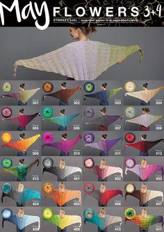 <p>Lækkert sjal strikket i Mayflowers 3 eller 4.<br /> Denne kvalitet er med lange farveskift, og består af 50% Akryl og