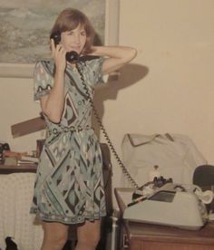 """This photograph of Jane Conrad (now Jane Dreyfus), the wife of astronaut """"Princeton Pete"""" Conrad, in a Pucci dress, shows how much swag the astronauts and their families got."""