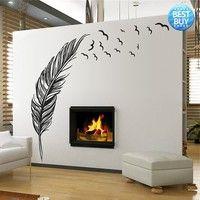 Wish | Best Wall Sticker Vinyl Birds Flying Feather Bedroom Home Decal Mural Art Decor