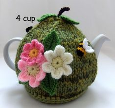 Hand-knitted-crochet- 4 cup Russet Green Apple Tea Cosy
