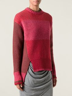 textured knit colour block sweater