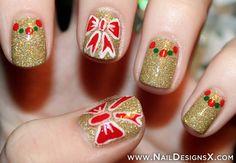 holiday bows nail art - Nail Designs & Nail Art