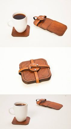 leather coasters. Coffee coasters set. Set of square hand tooled leather coasters