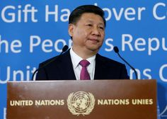 FILE PHOTO: Chinese President Xi Jinping addresses the guests during a gift handover ceremony at the United Nations European headquarters in Geneva, Switzerland, January 18, 2017. REUTERS/Denis Balibouse/File Photo