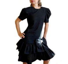 60s Black Cocktail Dress Ruffle Bow Rhinestones Prom by KMalinka, $85.00