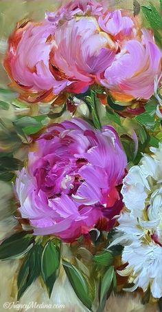 Oil Painting Flowers, Arte Floral, Beautiful Flowers, Beautiful Paintings Of Flowers, Floral Paintings, Face Paintings, Flower Art, Art Lessons, Watercolor Art