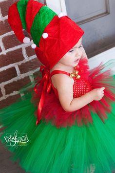 7e5d76404d45e CHRISTMAS Elf - Elf Costume - Tutu with Elf Hat - Elf Dress