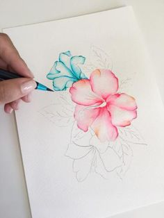 Hibiscus Process How to Watercolor