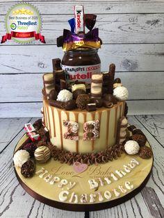 Nutella choc drip cake - June 2020 Choc Drip Cake, Cake Business, Cake Makers, Novelty Cakes, Drip Cakes, Homemade Cakes, Nutella, June, Birthday Cake
