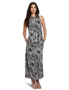 Anne Klein Women's Petite Maxi Dress, Black/white, 2p