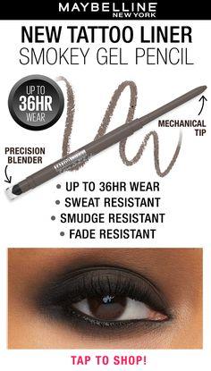 Pretty Eye Makeup, Makeup Eye Looks, Smokey Eye Makeup, Makeup For Black Skin, Skin Makeup, Smudge Proof Eyeliner, Taupe Eyeshadow, Maybelline Tattoo, Makeup For Older Women