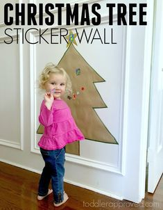 Christmas Tree Sticker Wall- Easy Fine Motor Activity Print out cute pics in balls to stick + other decor Christmas Arts And Crafts, Preschool Christmas, Toddler Christmas, Christmas Themes, Christmas Projects, Motor Activities, Holiday Activities, Activities For Kids, Christmas Toddler Activities