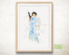 Star Wars Princess Leia Organa Watercolor Art Print Poster - Watercolor Art…