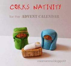Diary of a Creamamma: Inside the Advent Calendar Nativity with corks Christmas Crib Ideas, Christmas Projects, Christmas Diy, Advent Calendars For Kids, Diy Advent Calendar, Wine Craft, Wine Cork Crafts, Nativity Crafts, Xmas Crafts
