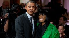 """President Barack Obama greets Patti LaBelle after she performed """"Over the Rainbow"""" during the """"In Performance at the White House: Women of S..."""