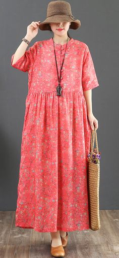 50a2d4b08b7 French orange print linen clothes For Women Pakistani Catwalk o neck baggy  Maxi Summer Dress