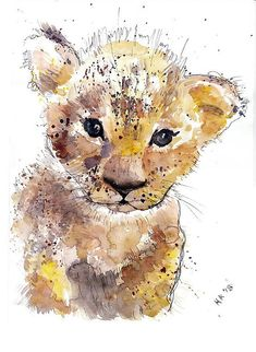 Savanna Animal Nursery Decor Cub Lion Nursery Print Animal Nursery Lion Print Kids Bedroom Art Baby Nursery Decor Watercolor Lion Wall Decor