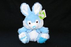 "WalMart Bunny Rabbit Wal-Mart Easter Fluffy Shiny Plush Toy NWT 6"" Blue & White  #WalMartStores"