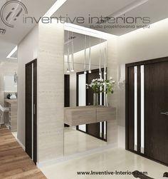 Projekt wiatrołapu Inventive Interiors - otwarty luksusowy wiatrołap z dużym lustrem