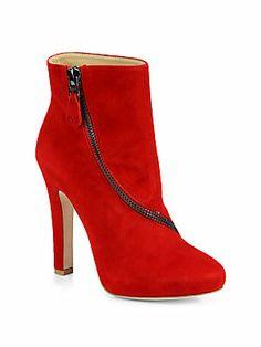 Diane von Furstenberg Cady Suede Zip-Detail Ankle Boots