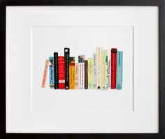 Ideal bookshelf // graphic print of cookbooks -- to hang on the kitchen wall. 11' x 14' $60