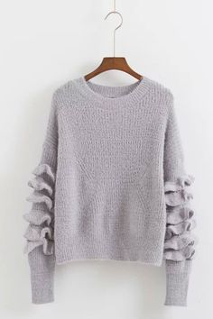Light grey soft knit rouched sleeve sweater