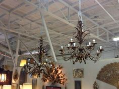 Rare Pair Italian Gilt Chandeliers with Canopies - $975