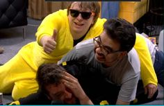 """RT Extra Life 2015. Here we have a very drunk Miles Luna in an Umbreon onesie/kigurumi being laid on by a much drunker Gus (aka Cheesemaster) and also drunk Kerry in a Pikachu onesie/kigurumi. For about thirty hours after the stream, I could really only say """"Poor Miles"""" Roster Teeth, Achievement Hunter, Roosters, Rwby, Favorite Person, Hunters, Onesie, Pikachu, How To Memorize Things"""