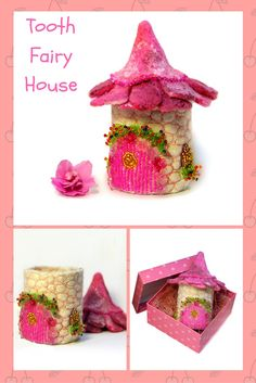 In this little fairy house lives the Tooth Fairy. Let your child put his tooth into this house and at night the Tooth Fairy will bring him money or a small gift for the tooth. Depending, of course, on the agreement that parents will make with the Tooth Fairy!  The height of the fairy house is 4,5 inches (12 cm).