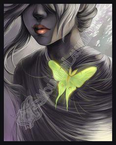 Luna Moth with Girl  Cocooned  Framed Print  by mtnlaurelarts