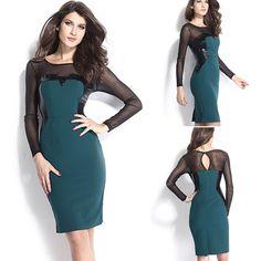Fashion See-through Gauze Spliced Long Sleeve Slim Fit Dress