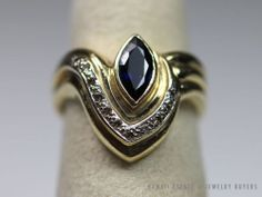 VINTAGE ESTATE LADY'S 14K YELLOW GOLD NATURAL SAPPHIRE & GENUINE DIAMOND RING