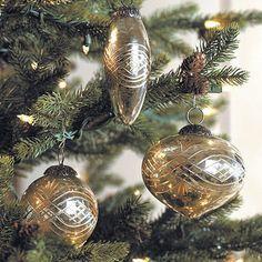 Etched Mercury Glass Ornaments