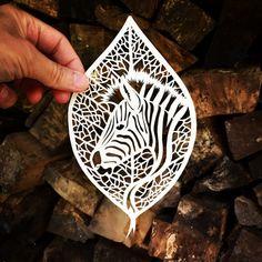 Zebra leaf papercut by Jo Chorny PeaceOfPaper by peaceofpaper1