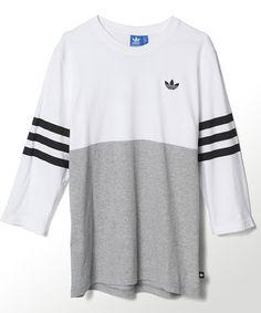 White & Black Stripe Jersey Tee by adidas