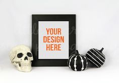 Halloween Styled Frame Mock Up. One INSTANT DOWNLOAD of a styled Halloween white and black desktop with a portrait black photo frame STOCK PHOTO. Simply add your web design, app design, art print, greeting card design, etc. for the perfect product photo. Frame with mat set to fit an 8x10 image. $10 https://crmrkt.com/Nj3N3A?u=sarahdesign #ad