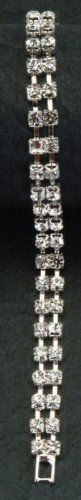 Silver Link Bracelet with Double Row Square Crystals Accessory Jewelry GC. $18.99. Save 42% Off!