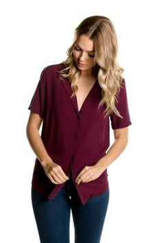 9f09699c97e305 Notch collar wine colored short sleeve blouse - Layered Collection Boutique