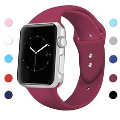 Sport Band for Apple Watch Soft Silicone Sport Strap Replacement Bands for iWatch Apple Watch Series 3 Series 2 Series 1 Wine Red Small Gold Apple Watch, Apple Watch Iphone, Apple Watch 42mm, Apple Watch Faces, Apple Watch Series 3, Sport Watches, Watches For Men, Women's Watches, Digital Watch