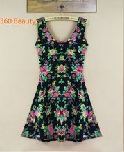 2015 New Arrival Casual A-line Print Sleeveless Regular Natural O-neck Above Knee, Mini Chiffon Summer Dresses floral dress