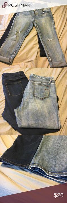Boyfriend jean bundle Lt and dark denim can wear as boyfriend or fold down to regular jean. Used but in good condition, too big for me due to weightloss 👍America rag-lt denim/ dark denim- d. Jeans American Rag Jeans Boyfriend
